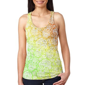 Cinco de Mayo Crazy Sugar Skull Pattern Juniors Burnout Racerback Tank Top