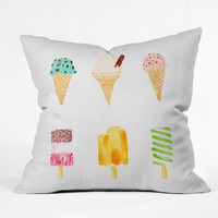 Laura Redburn Ice Cream Selection Throw Pillow