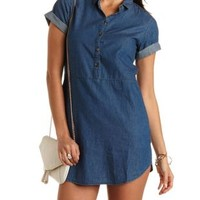 Rounded Hem Denim Shift Dress by Charlotte Russe - Chambray