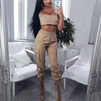 Solid Color High Waist Big Pockets Women Casual Loose Pants