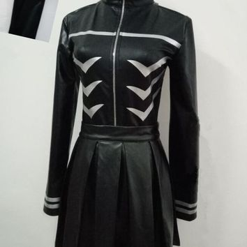 Free Shipping Tokyo Ghoul Kaneki Ken Girl Uniforms Female Ken Kaneki Cosplay Costume Jacket + Skirt + Stockings