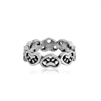 Charm Splicing Heart Shaped Paw Ring Silver Animal Paw-filled Pet Cat Dog Ring For Women Girl Lovers Fashion Jewelry Gift
