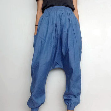 Harem Pants, Genie Drop Crotch Unique Style Boho, Medium blue Cotton Denim Lightweight (pants-17).