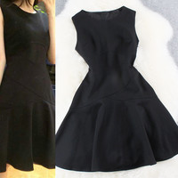 Black Sleeveless Hem Line Dress