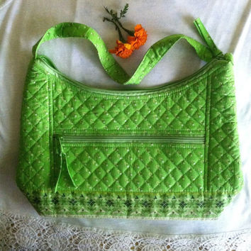 Green Handbag Vintage Lime Green Cotton Flowered Handbag Spring Summer Floral Zippered Tote Green White Pocketbook Lime Quilted Bag