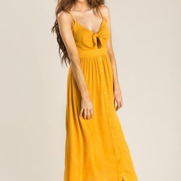 Delaney Mustard Tie Front Midi Dress