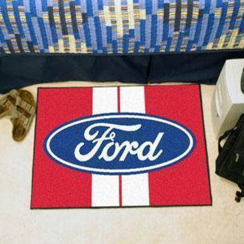 "FORD Sports -  Ford Oval with Stripes Starter Rug 19""x30"" - Red"