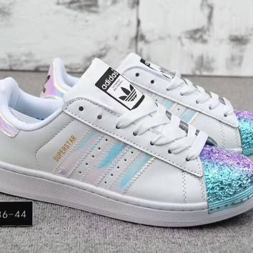 Adidas Superstar Trending Women Men Casual Electroplating Color Shell Toe Metal Board Shoes(4-Color) White Blue Purple I-CQ-YDX