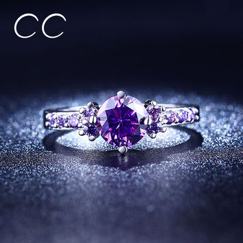 2016 luxury purple engagement rings for women aneis vintage CZ diamond wedding ring bijoux bague femme chiristmas gifts CC199