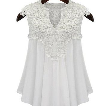 White Embroidered Applique V Neck Blouse Top