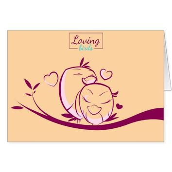 Cute Two Birds In Love Valentine Greeting Cards
