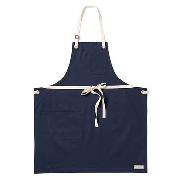 REGGIE BIB APRON, NAVY DUCK CANVAS