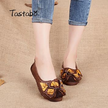 Tastabo Genuine Leather Soft Bottom Shoes Handmade Flowers Women Loafers Shoes Casual Female Flats Driving Shoes plus size