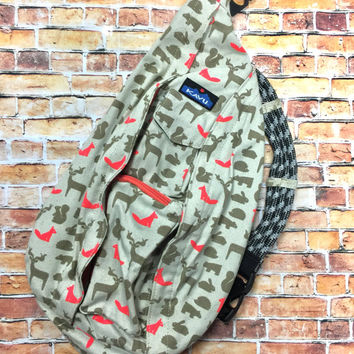 Monogrammed Kavu Rope Bags - Out Foxed - Great gift for College, Teens, Women, Outdoors Satchel Crossbody Tote