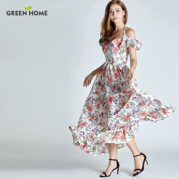 Green Home Summer Floral Breastfeeding Nursing Long Dress Elegant Breastfeeding Dress Off-The-Shoulder Women Maternity Dresses