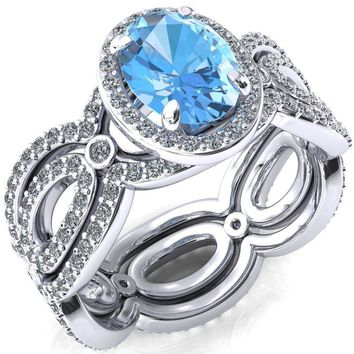 Polaris Oval Aqua Blue Spinel 4 Claw Prongs Diamond Halo Full Eternity Accent Ring