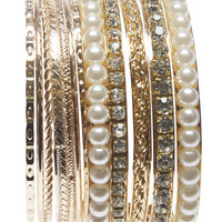 Rhinestone & Pearl Bangle Set | Wet Seal