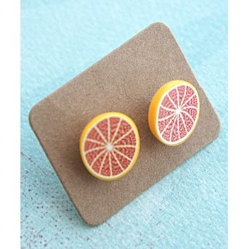 grapefruit stud earrings