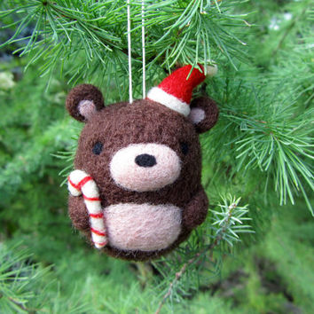 Needle Felted Bear Ornament, Christmas Ornament, Christmas Decoration, Holiday Ornament, Felt Ornament, Teddy Bear Ornament, Christmas Gift