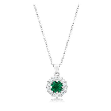 Belle Emerald Green Round Halo Pendant Necklace | 4ct