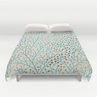 Berry Branches – Turquoise & Gold Duvet Cover by Cat Coquillette