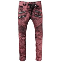 Free Shipping Men's Classic Jeans Straight Full Length Casual Red Pocket Jeans Men Biker Jeans Stretch Ripped Mens Skinny Jeans
