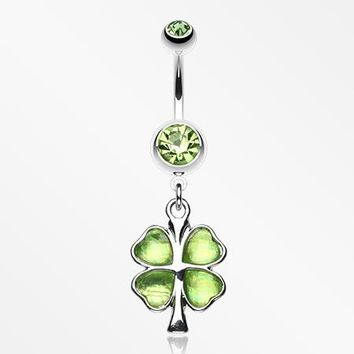 Lucky Four Leaf Clover Dangle Belly Ring