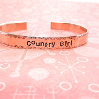 Hand Stamped Country Girl Copper Cuff Bracelet