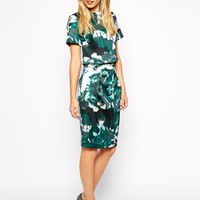 Warehouse Enlarged Floral Bonded Pencil Co-Ord Skirt