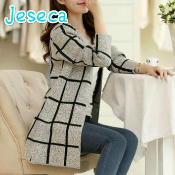 Jeseca Autumn coat Korean fashion women sweater coat trendy Slim long plaid sweater women youth breathable Slim Cardigan