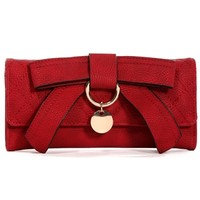 Sale-dark Red Quilted Bow Wallet