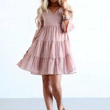 Georgina Swing Dress - Dusty Pink