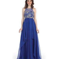 Royal Sequin Bodice Keyhole Back Dress 2015 Prom Dresses