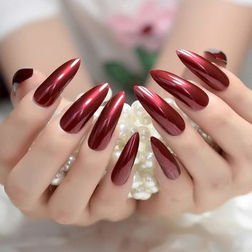 Wine Red False Fake Artificial Nail Extra Long Stiletto Mirror Nails Sharp for finger patch Women daily wear Sexy color Z932