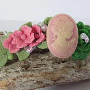 Vintage shabby chic hair barrette-clip,Ladies, sparkly,Cabochon ladie, pink foral,Wedding hair Bridal accessories Super cute