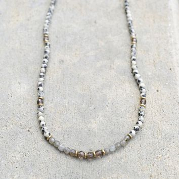Dalmatian Jasper, Smoky Quartz and Labradorite Necklace