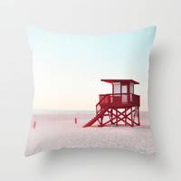 Pillow Cover, Red Lifeguard Tower Beach Surf Throw Pillow, Coastal Home Interiors Decorative Square Pastel Accent Pillow, 16x16 18x18 20x20