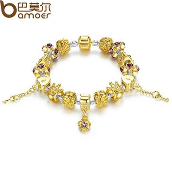 BAMOER Gold Color Strand Bracelet with Crown Charm for Women With Murano Glass Beads Birthday Gift PA1428