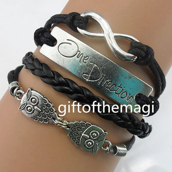 owl,one direction & infinity karma charm bracelet antique silver --wax cords leather bracelet,popular metal bracelet,friendship gift 1214