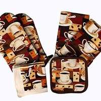 Coffee Oven Mitt Set with Towels, Dishcloths and Pot Holders (8pc Set)