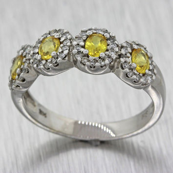 Effy 14k White Gold Yellow Sapphire .50ctw Diamond Cocktail Band Ring Size 9
