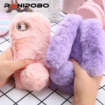 Ranipobo 3D Rabbit Hairy Warm Fur Case for iPhone 5/5S/SE