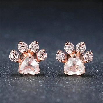 Rose Paw Print Earrings