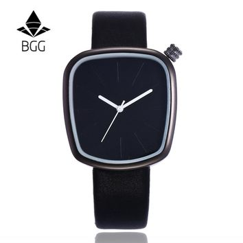 BGG Luxury Irregular Shape Ladies wristwatch Men's Leather Strap Quartz watches Fashion Students Sport Watch simple female clock