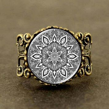 Namel mandala flower charm henna yoga Ring India style jewelry om symbol buddhism zen hot 2017 rose for women silver hot designs