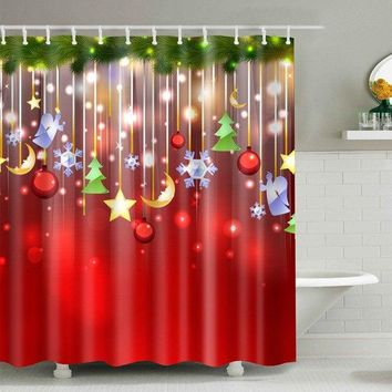 Christmas Waterproof Fabric Shower Curtain