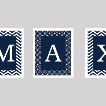 Personalized Nursery Letters, Custom Decor Prints, White Letters on Blue with Chevron, Boy Name Prints, Custom Name Art, Nursery Decor, 8x10
