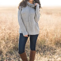 Katja Cowl Neck Sweater (Heather Grey)