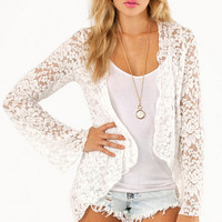 Lace Waterfall Cardigan $35