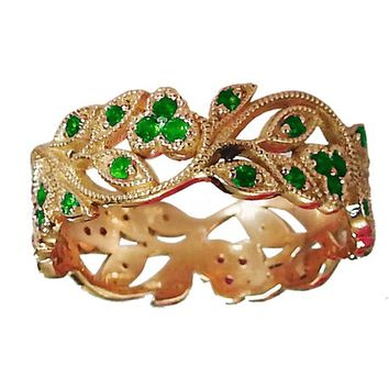 18K Rose gold Leaves Band Emerald Filigree Ring Milgrain Twig Ring